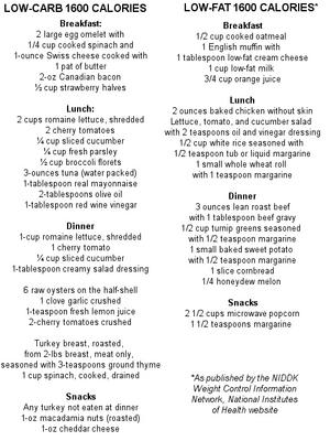 Low Fat Dinner Menus 102