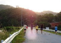 Joggers! Many people come to the dam for exercise