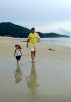 Jamie and Daughter on Nai Yang Beach (photo taken in 2004)