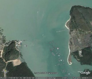 Google Earth view of Laem Hin and west side of Koh Maphrao