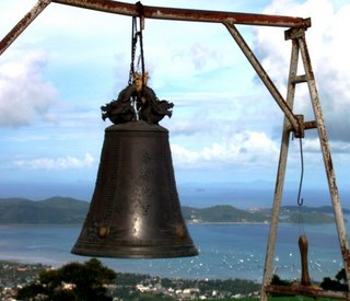 Prayer Bell and view over Chalong looking towards Cape Panwa