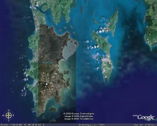 Phuket as seen on Google Earth - Koh Yao to the east