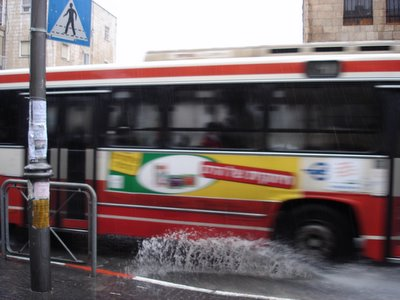 Jerusalem Egged bus makes a splash
