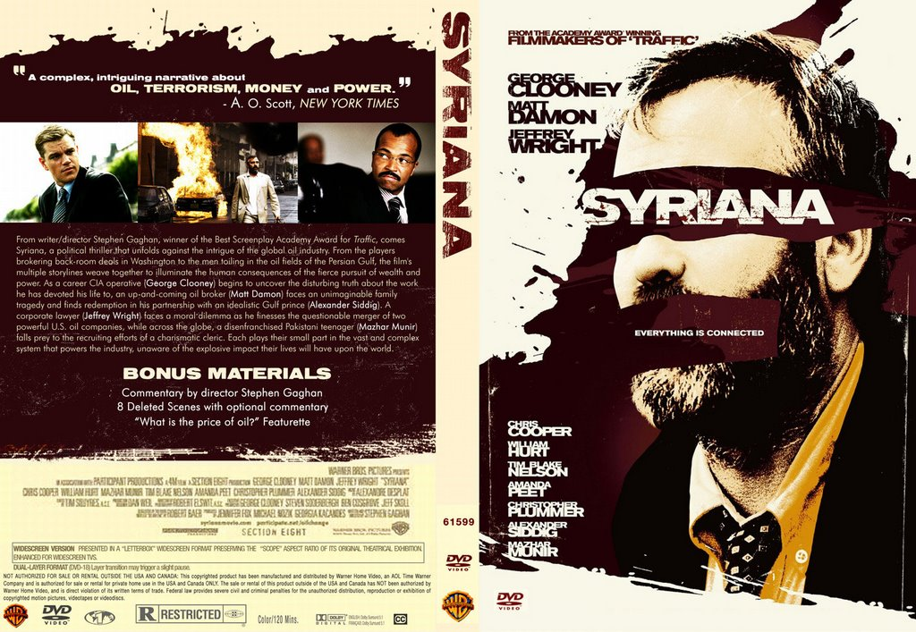 film studies of syriana Film studies blog just another star portfolio: george clooney even with the syriana poster we can tell who the actor is despite hiding his.