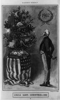 Uncle Sam standing smiling at Christmas tree Credit Line: Library of Congress Prints and Photographs Division, REPRODUCTION NUMBER: LC-USZ62-98604