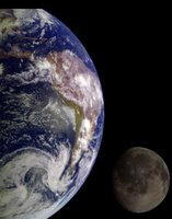 During its flight, the Galileo spacecraft returned images of the Earth and Moon. Separate images of the Earth and Moon were combined to generate this view.