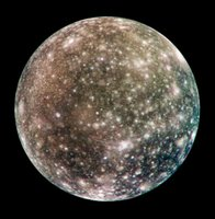 Bright scars on a darker surface testify to a long history of impacts on Jupiter's moon Callisto.