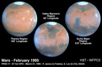 Target Name: Mars, Is a satellite of: Sol (our sun), Mission: Hubble Space Telescope (HST), Spacecraft: Hubble Space Telescope, Instrument: Wide Field Planetary Camera 2, Product Size: 800 samples x 525 lines, Producer ID: STSCI-PRC95-17A, Addition Date: 1998-05-02