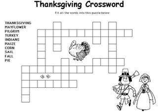 Lalc Teacher Resources Thanksgiving Crossword Puzzles