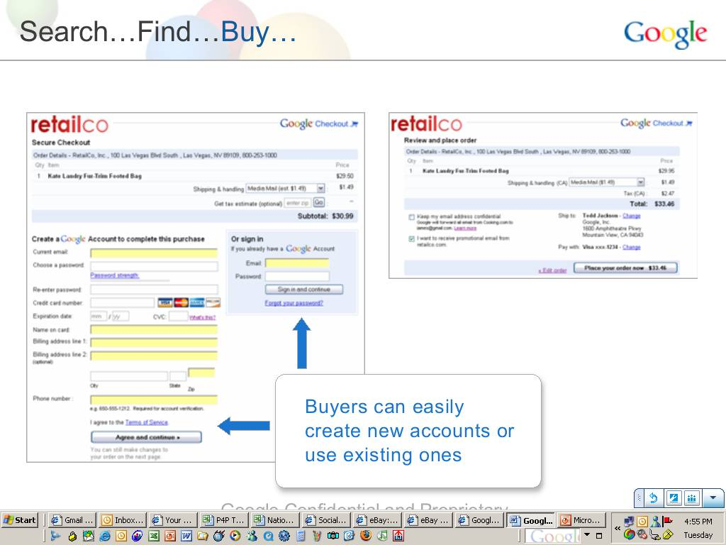 Google Checkout Screenshots Leaked