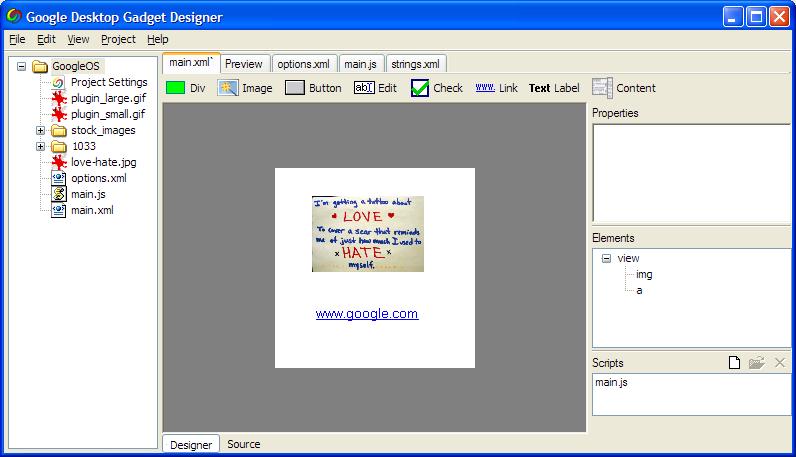 Google Desktop Gadget Designer