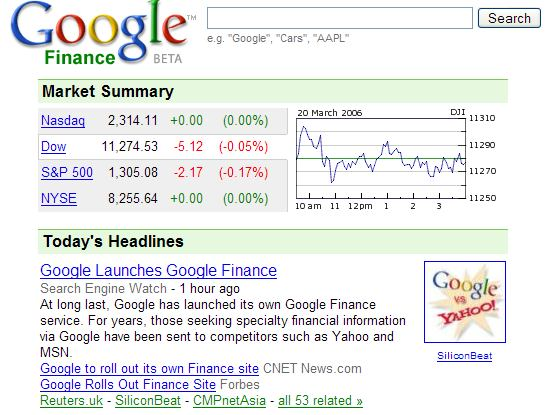 Google Finance Stock Market Quotes News: Google Finance Launched