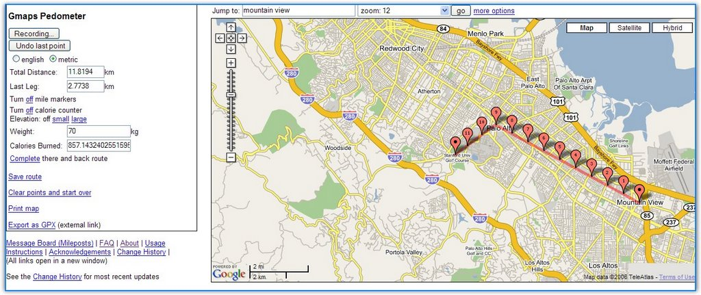 create running routes with google maps