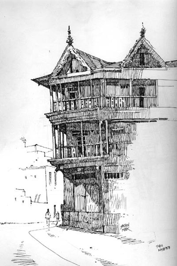 Corner house a4 sketch 150