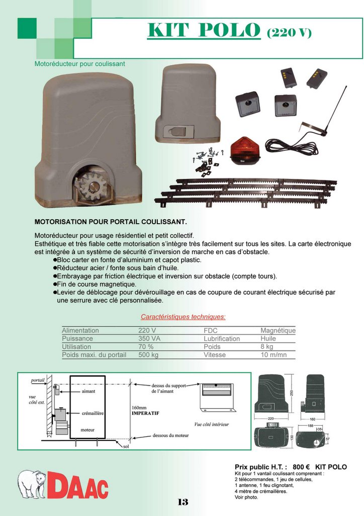 catalogue daac en ligne p13 kit polo. Black Bedroom Furniture Sets. Home Design Ideas
