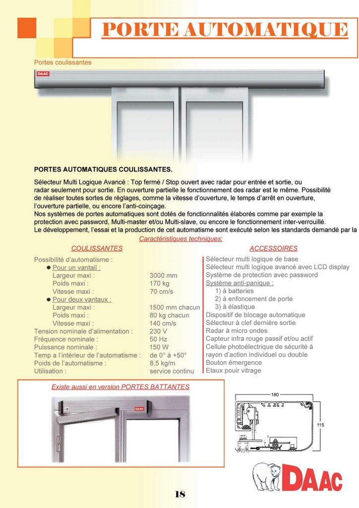 catalogue daac en ligne p18 porte automatique. Black Bedroom Furniture Sets. Home Design Ideas