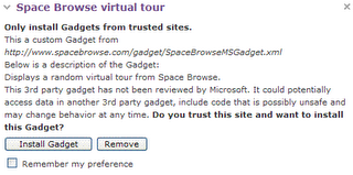 Only install Gadgets from trusted sites