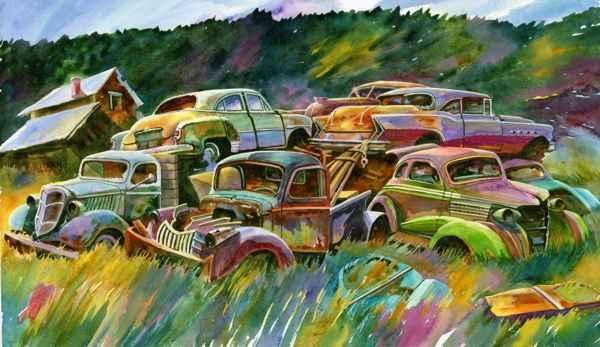 Ron Morrison Watercolour Productions: Seven Car Pile-up