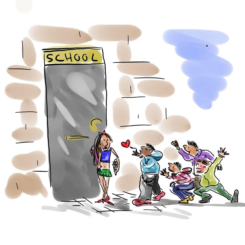 Flirten schoolplein