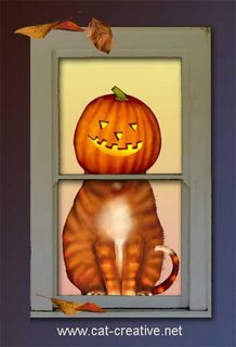 Ferdinand ginger cat in pumpkin at Halloween