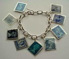 Blue laminated stamps bracelet (C) Emma Farnworth