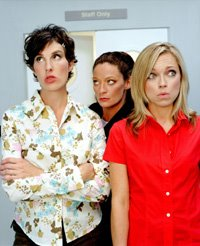 Tamsin Greig, Michelle Gomez, and Sarah Alexander in Green Wing. Photo via www.gelfmagazine.com, courtesy Channel 4 International