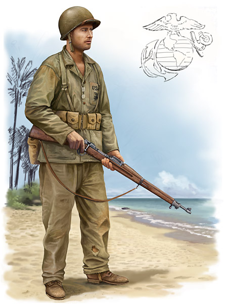 Vincent Wai's military art: Marine at Guadalcanal