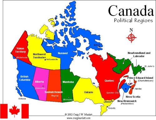 Politic al Map of Canada. Click here to see larger version