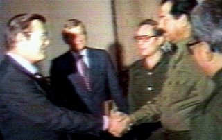 Partners in crime. Or is it strange bedfellows? To read about Donald Rumsfeld and Saddam Hussein, go to this URL: http://www.gwu.edu/~nsarchiv/NSAEBB/NSAEBB82/index.htm