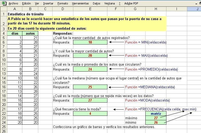 Matemática con Excel