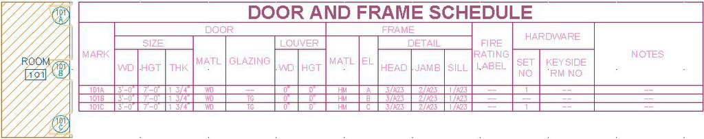 The architect 39 s desktop schedule table placeholders for Schedule of doors and windows sample