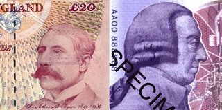 Elgar and Smith 20-pound notes