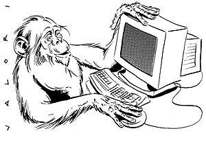 vignetta scimmia al computer