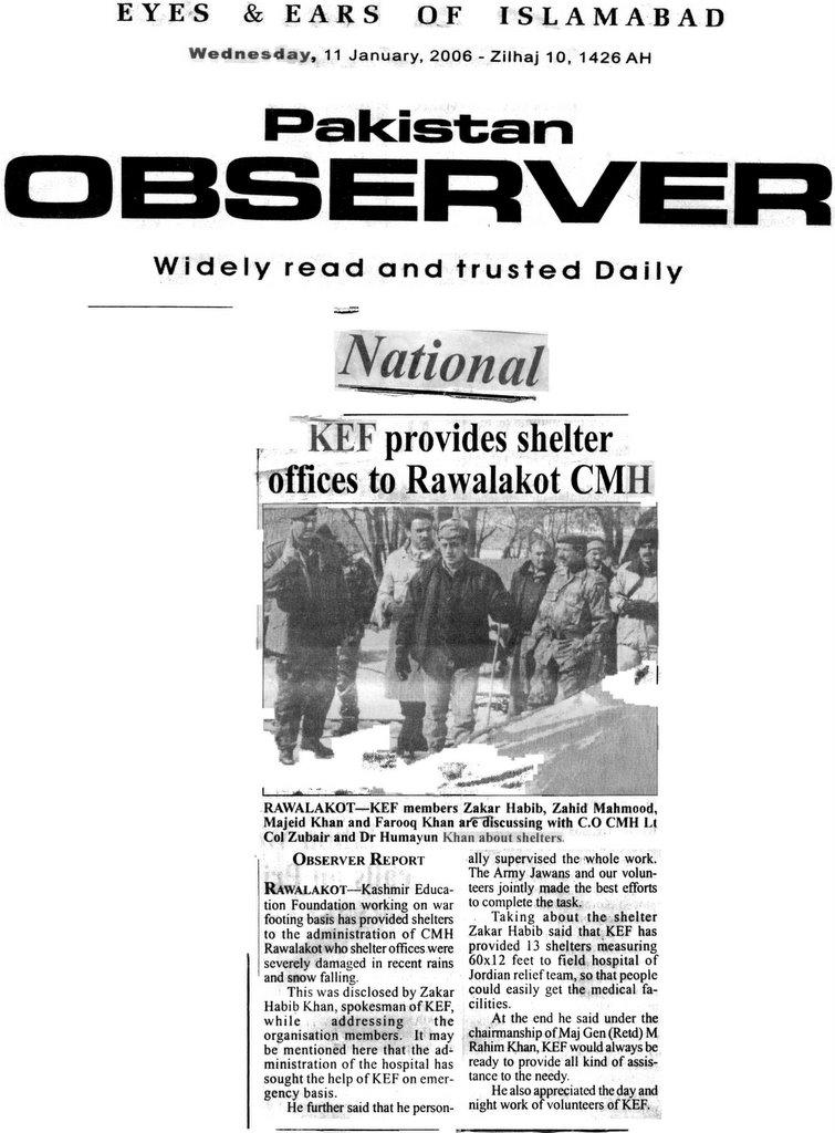Kashmir Education Foundation: January 2006