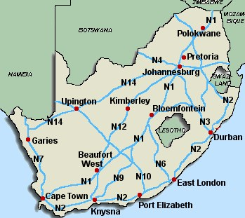 Road Map South Africa Distances | Map Of Africa