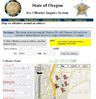 sex offender maps for oregon