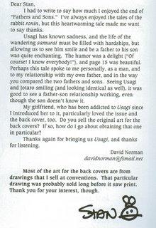 My letter in Usagi Yojimbo #73