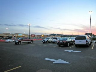 parking lot at dusk