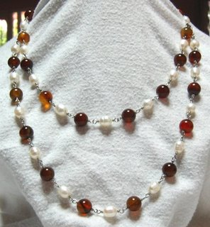 wire wrap garnet and pearl double strand detachable necklace