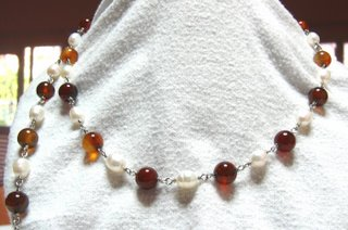 Wire wrap pearl and agate detachable necklace