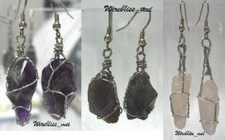 Wire Wrapped Gemstones Earrings