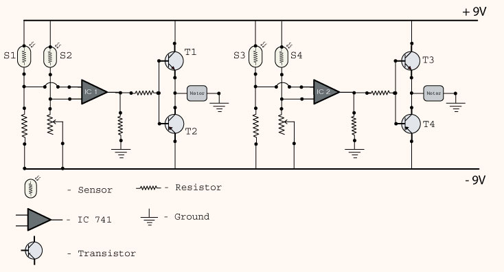 sun tracking solar panel project circuit diagram