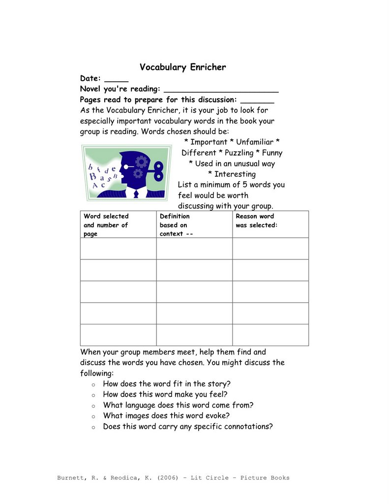 Workbooks literature circles roles worksheets : Reading and Writing Methods: Biography Unit: Literary Circle Text Set