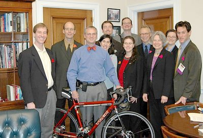 Image of Congressman Earl Blumenauer and constituents during 2006 National Bike Summit