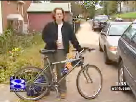 Image of female bike commuter from WTNH in Connecticut
