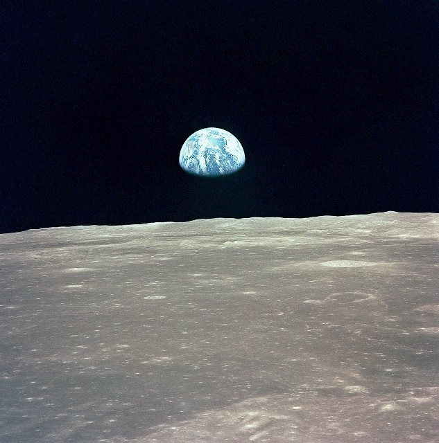 This view of the Earth rising over the Moon's horizon