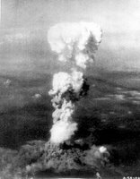 Hiroshima 1940's -- ATOMIC BURST. At the time this photo was made, smoke billowed 20,000 feet above Hiroshima while smoke from the burst of the first atomic bomb had spread over 10,000 feet on the target at the base of the rising column. August 5, 1945. Two planes of the 509th Composite Group, part of the 313th Wing of the 20th Air Force, participated in this mission; one to carry the bomb, and the other to act as escort. (U.S. Air Force photo.