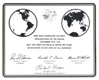 Replica of Plaque Left on Moon by Apollo 17 Astronauts