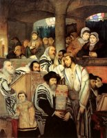 Jews Praying in the Synagogue on Yom Kippur. (2 Images)