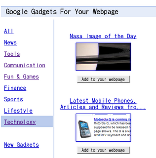Google Gadgets for Your Webpage